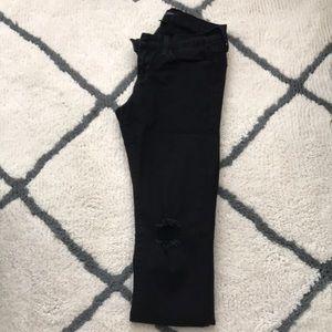 Distressed full length flying monkey black jeans